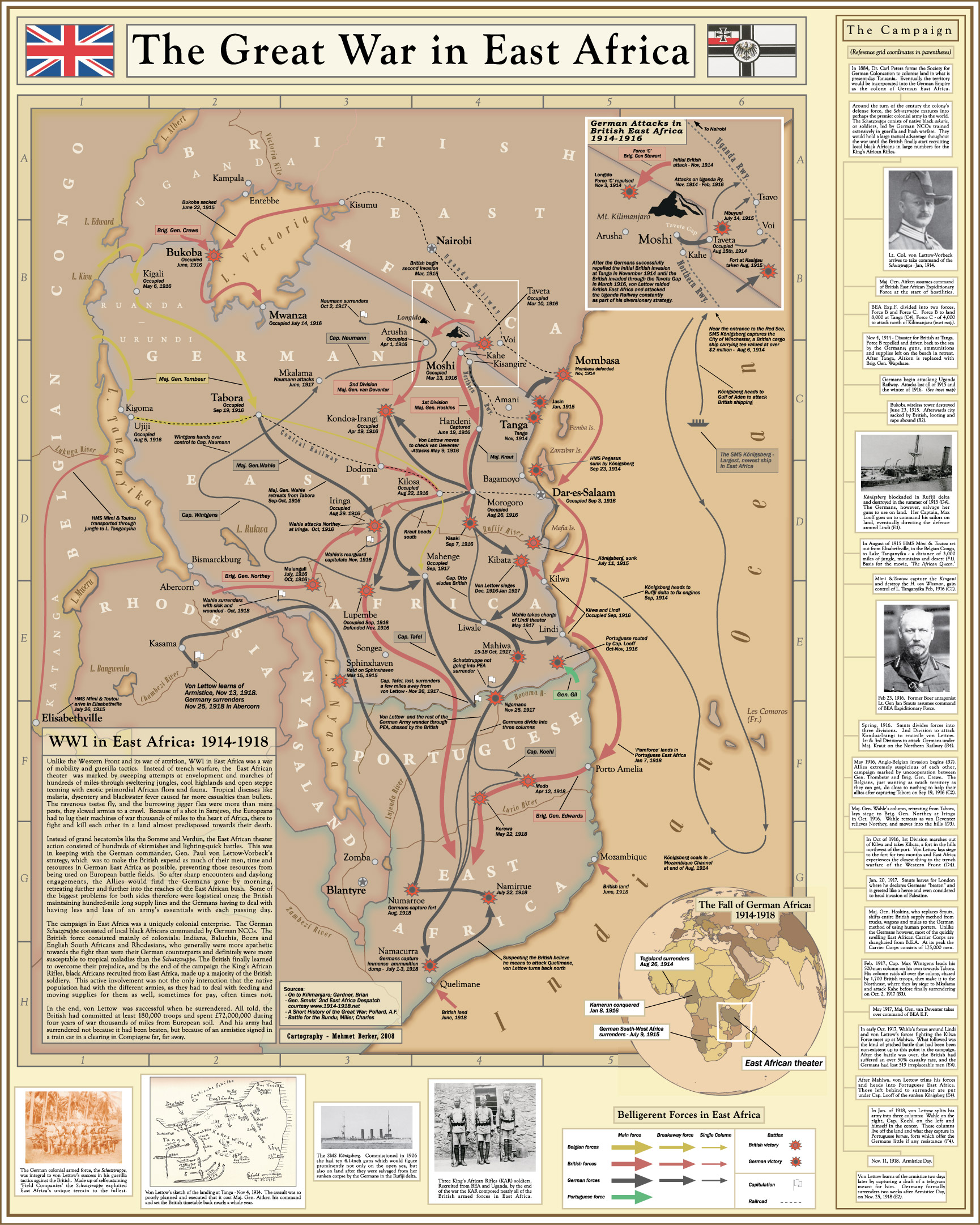 Great war in east africa map great war centenary association great war in east africa map gumiabroncs Choice Image