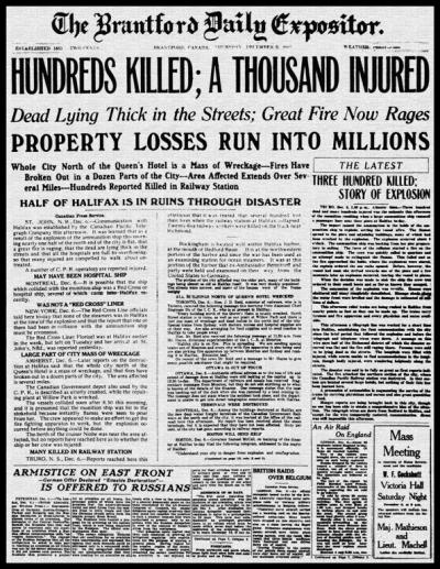 Halifax Disaster Brantford Expositor