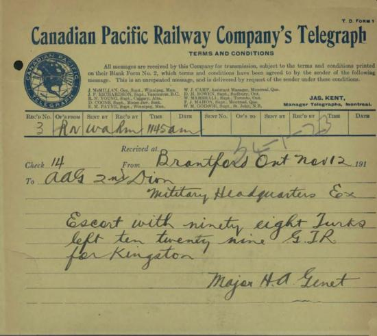 Telegram announcing Turks internment