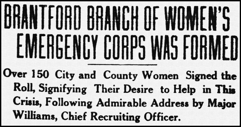 Women's Emergency Corp newspaper headline 1916