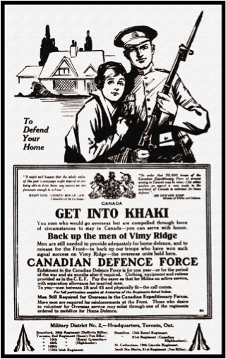Figure 1: Canadian Defence Force ad, Brantford Expositor May 2, 1917.